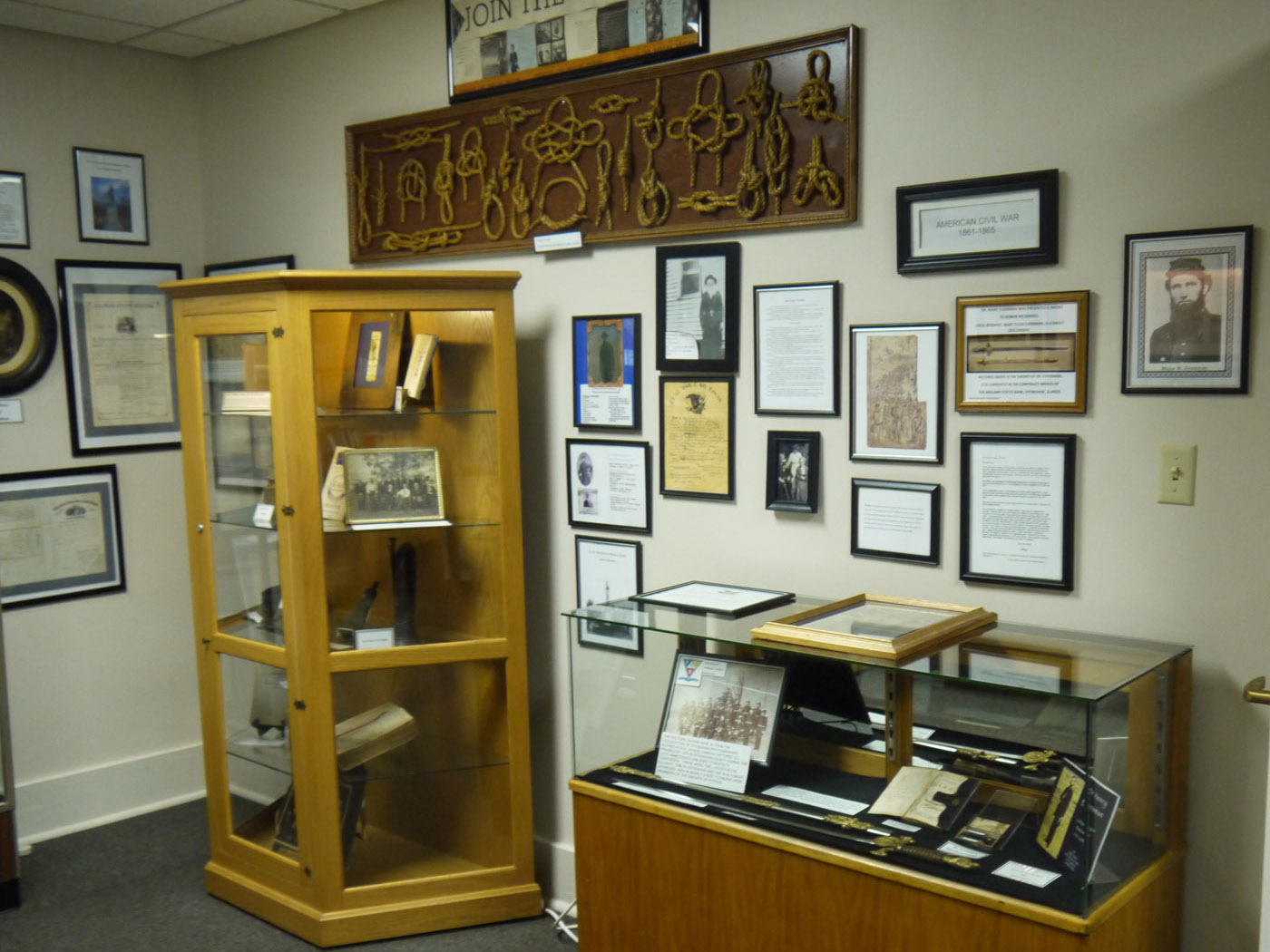 Civil War artifacts and photographs